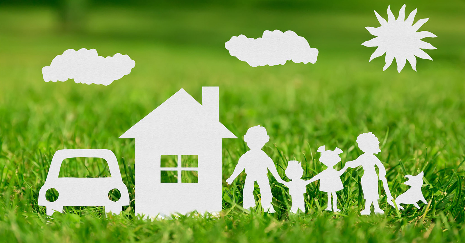 38973594-Paper-cut-of-family-with-house-and-car-on-green-grass-Stock-Photo-1